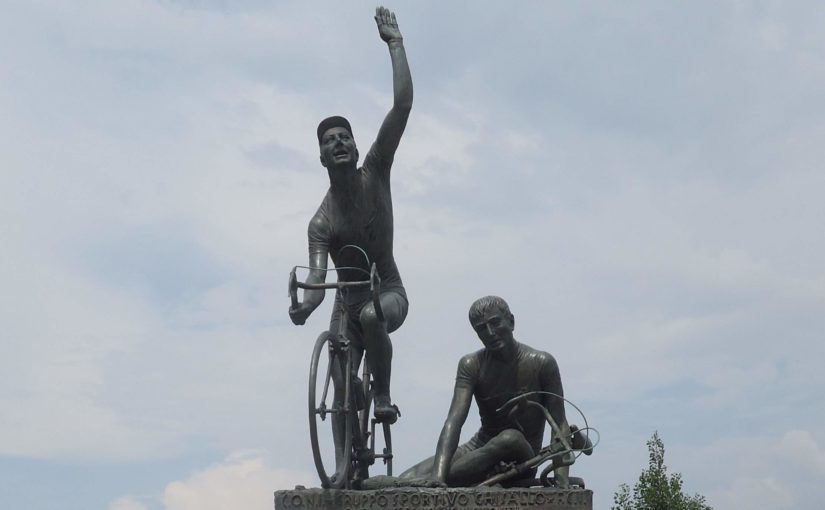 Monument of Il Lombardia on Madonna del Ghisallo
