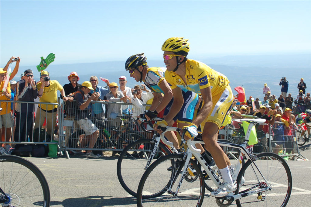 Alberto Contador and Lance Armstrong on Mont Ventoux, Tour de France 2009 Stage 20.