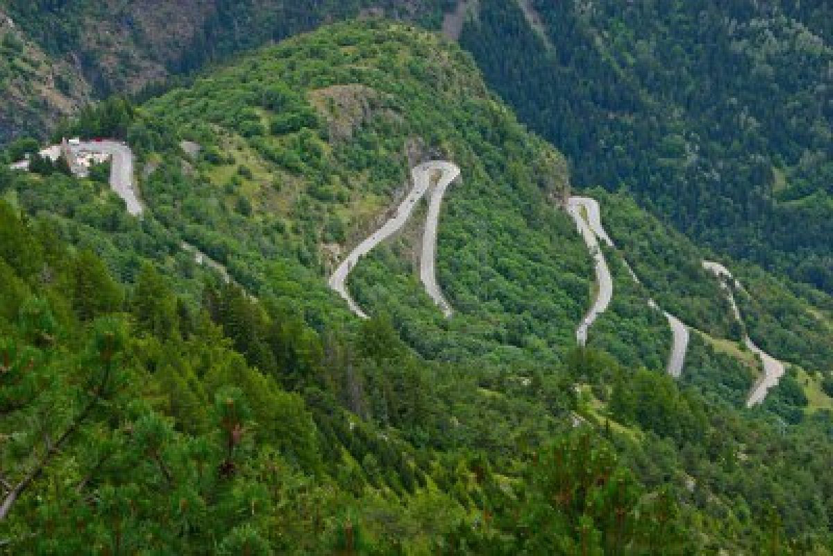 Alpe d'Huez, the famous hairpin curves