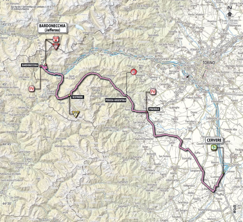 Giro d'Italia 2013 stage 14 map