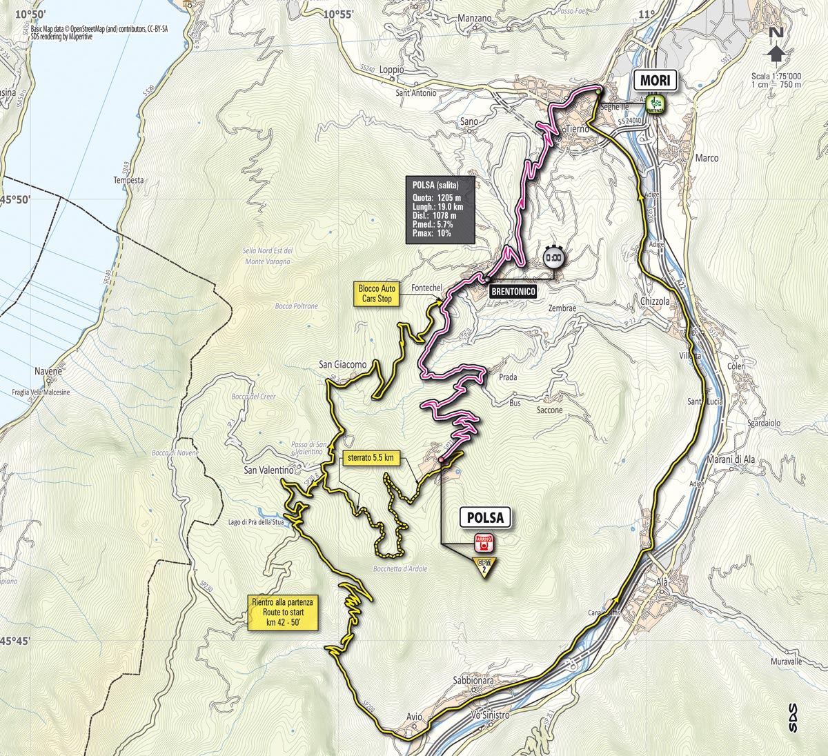 Giro d'Italia 2013 stage 18 map
