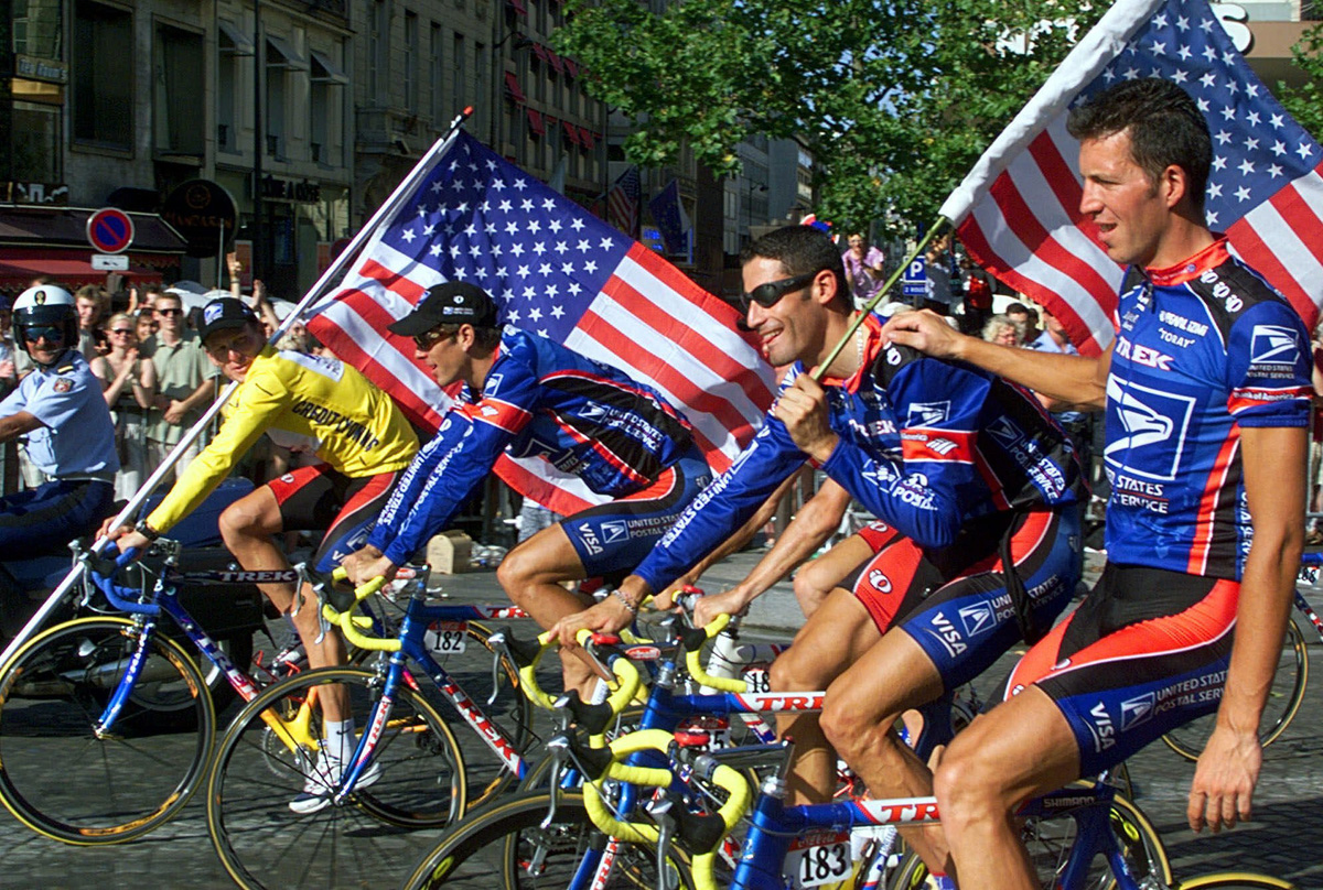 George Hincapie with Lance Armstrong