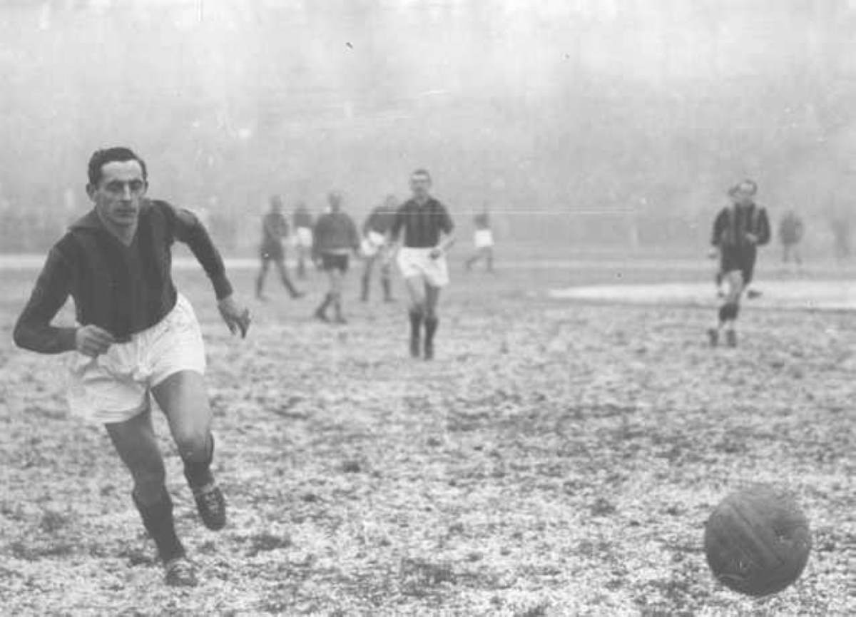 """Il campionissimo"" Fausto Coppi as a football (soccer) player."