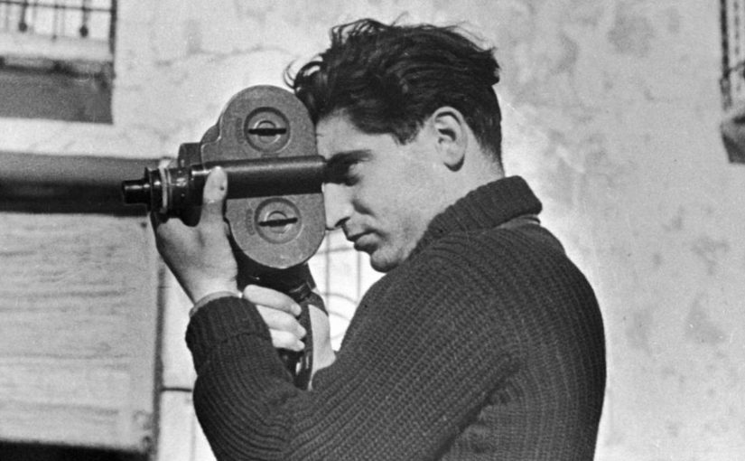 Robert Capa with a camera