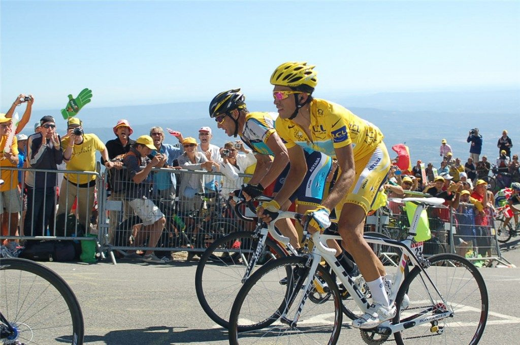 Most Vélo d'Or winners: Alberto Contador and Lance Armstrong at the 2009 Tour de France