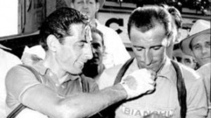 Andrea Sandrino Carrea with Fausto Coppi