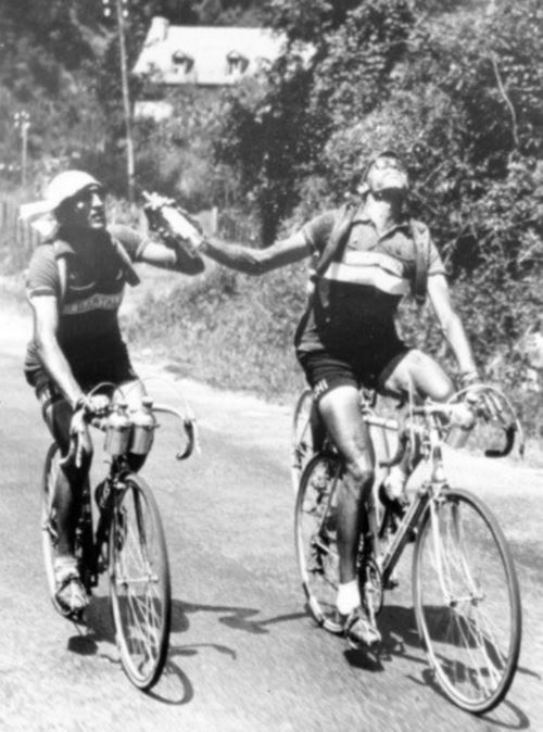 The famous bottle photo of Coppi and Bartali: Fausto Coppi and Gino Bartali sharing a bottle at Tour de France 1952