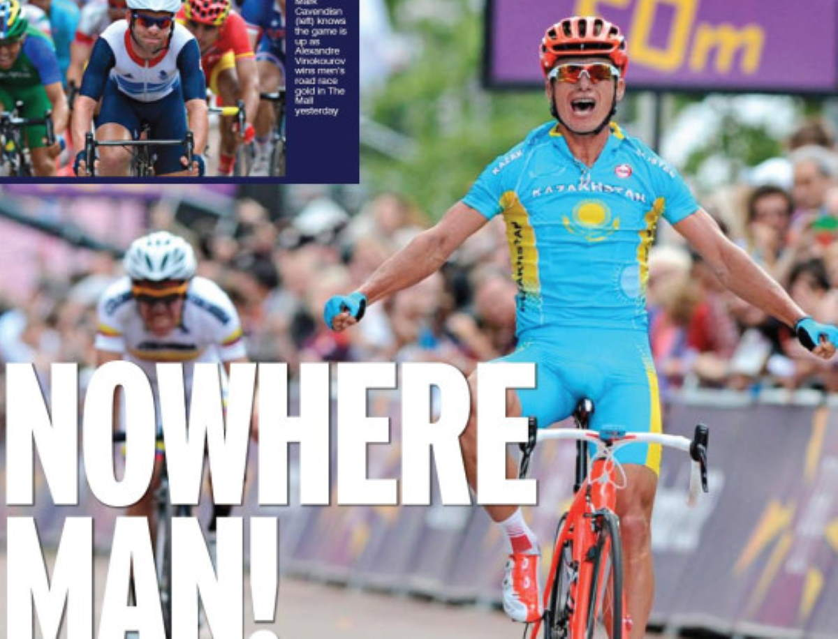 "According to Sport on Sunday, Alexander Vinokourov is the ""nowhere man"" and ""nobody from Kazakhstan""."
