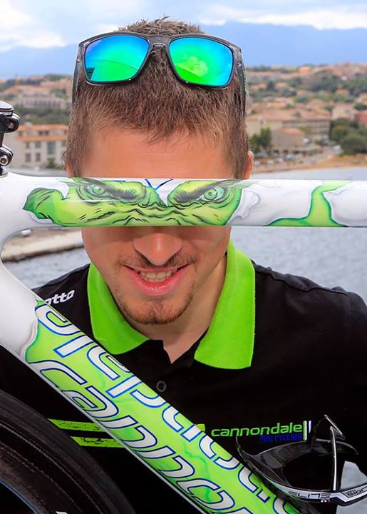"Peter Sagan and his Cannondale SuperSix Evo Tour de France 100th special edition ""The Hulk"""