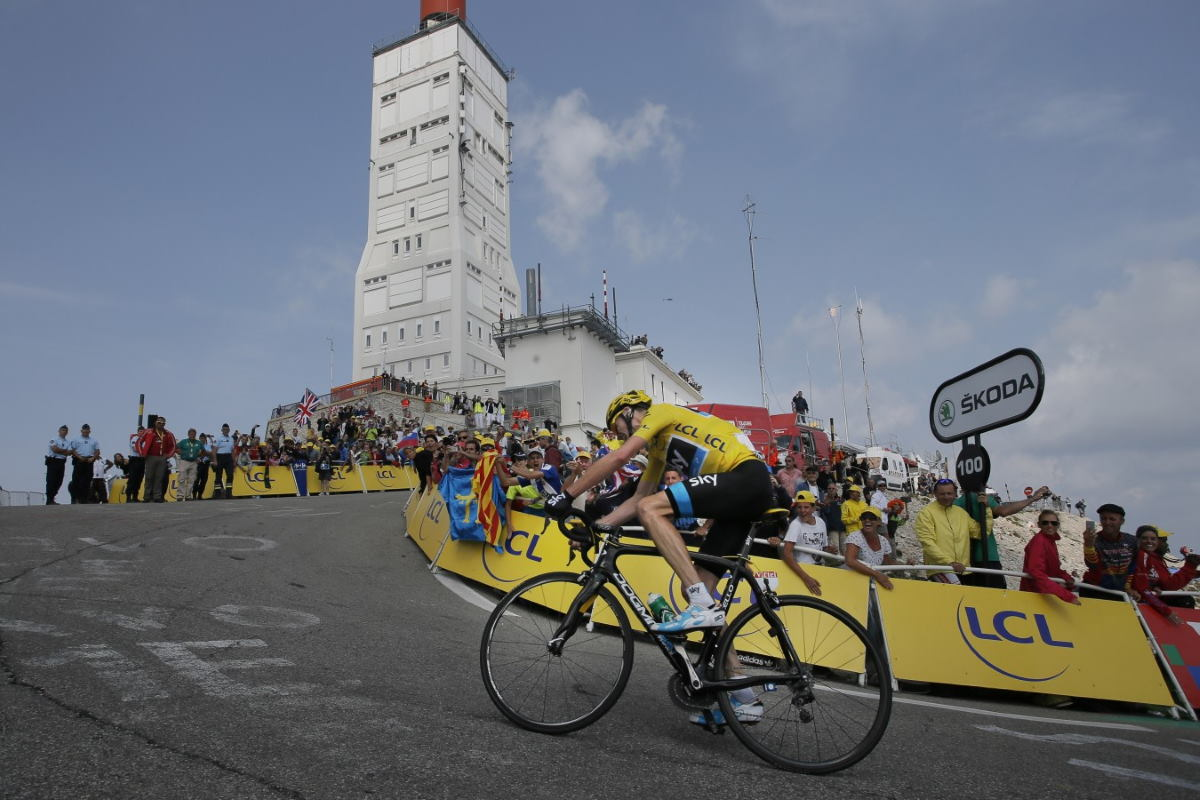 Chris Froome (Team Sky) on his way to win the Tour de France 2013 stage 15 atop Mont Ventoux.