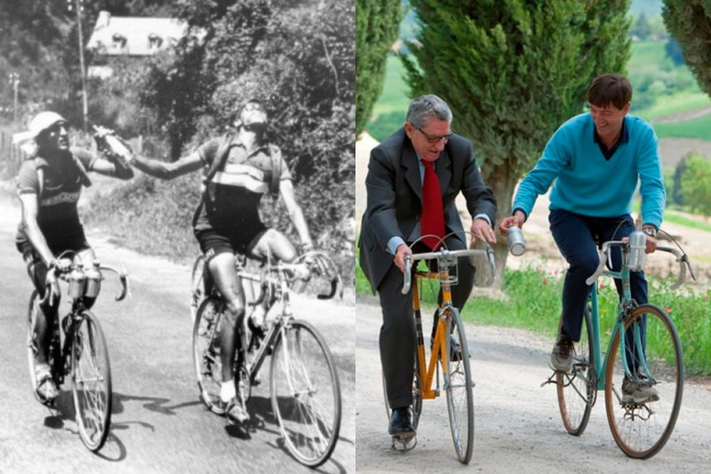 Reproduction of the famous bottle photo of Coppi and Bartali