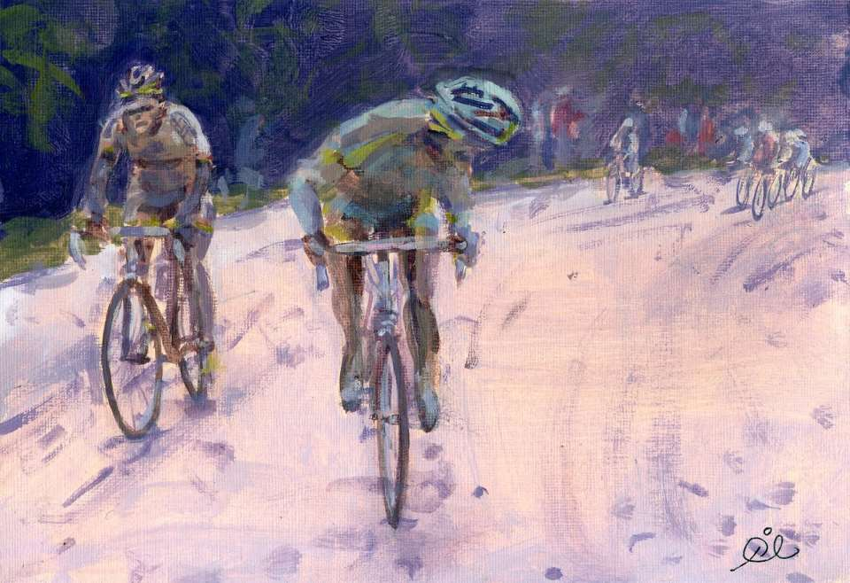 Quote of the day from Dino Buzzati Strade Bianche (2010 Giro d'Italia) painting