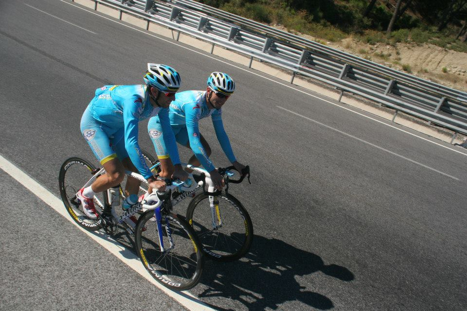La Gazzetta dello Sport riding event, Vincenzo Nibali with Paolo Tiralongo