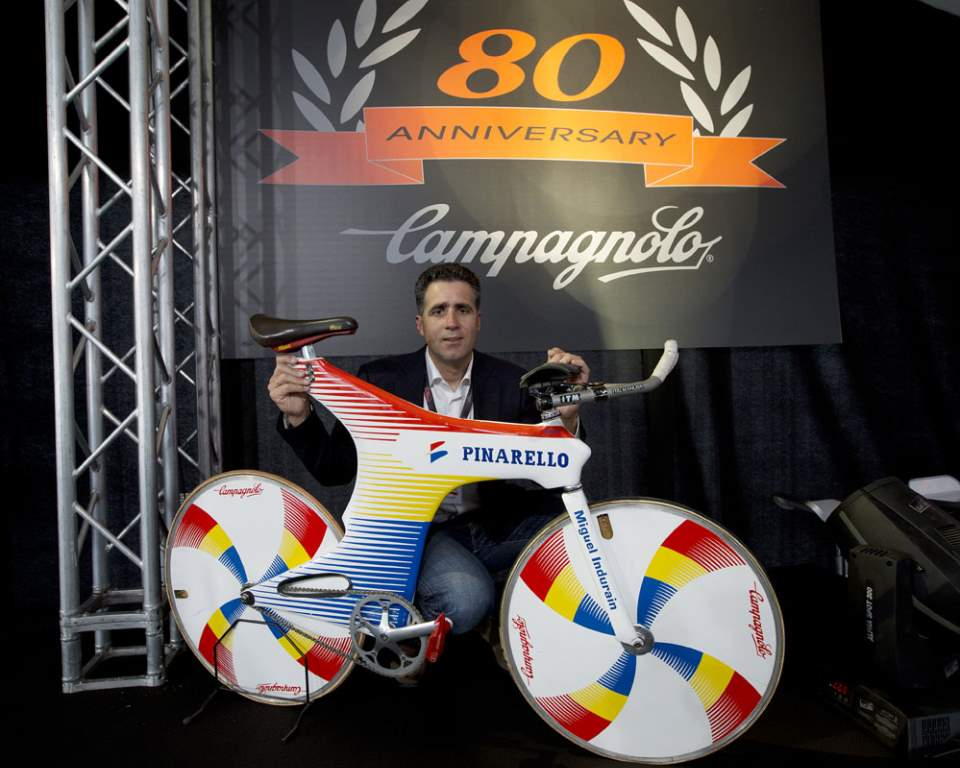 Miguel Indurain with his old Pinarello Espada (Pinarello Sword) at the Campagnolo 80th Anniversary event