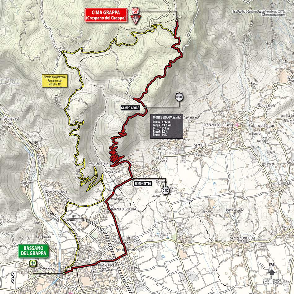 Giro d'Italia 2014 stage 19 map