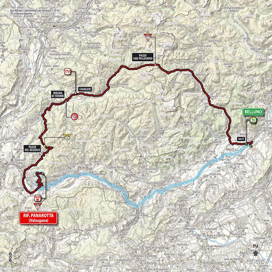 Giro d'Italia 2014 stage 18 map (new)