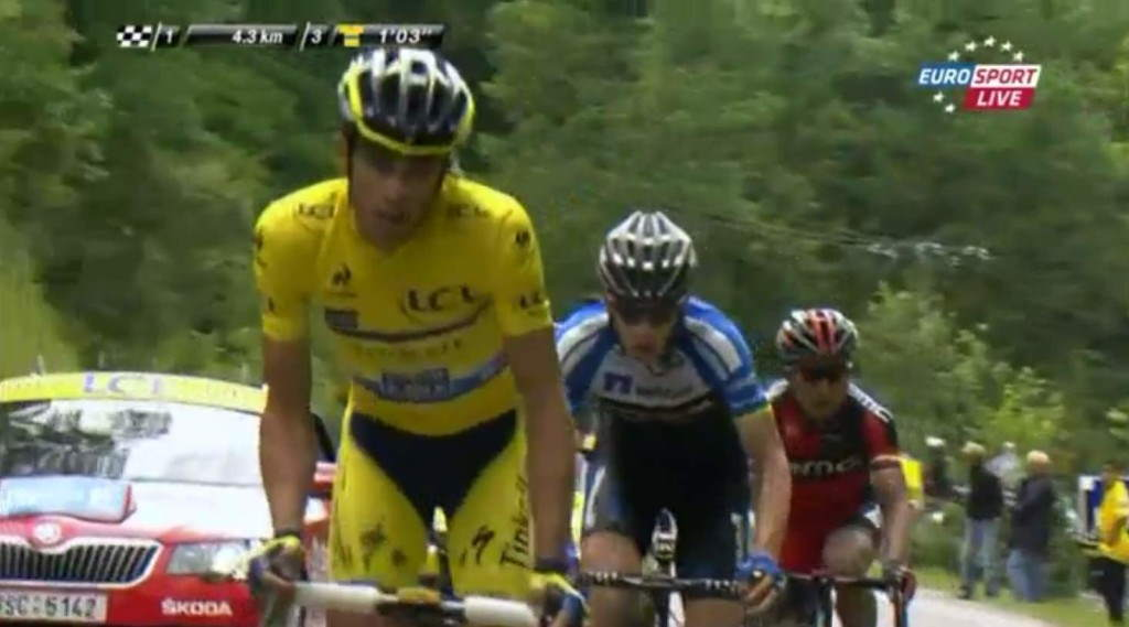 2014 Critérium du Dauphiné stage 8 - Alberto Contador (Tinkoff-Saxo) leading the second chasing group