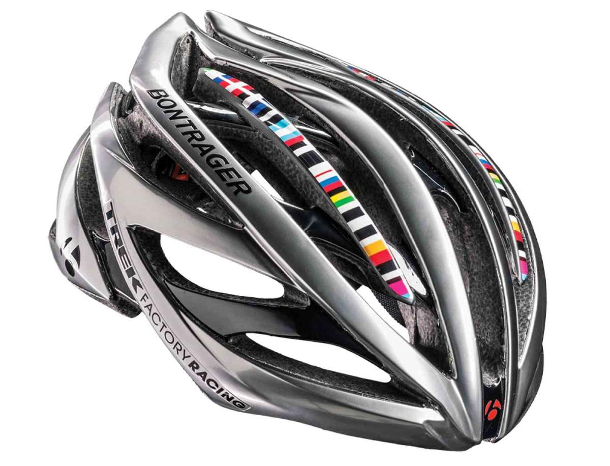 Chrome-colored Bontrager helmet for Jens Voigt's farewell