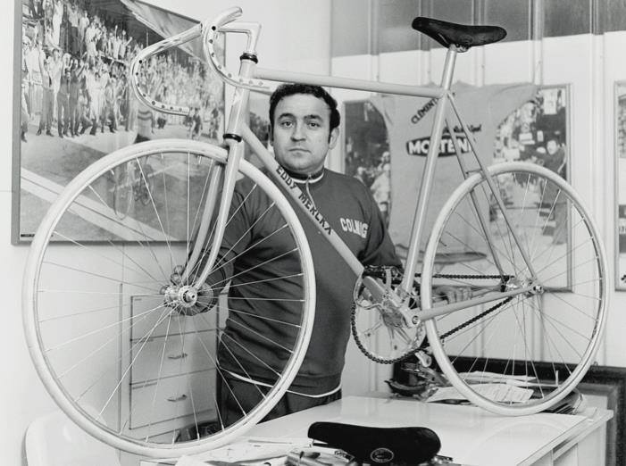 Ernesto Colnago with Eddy Mercx's Hour Record bike