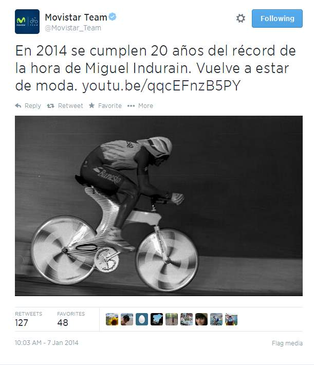 Movistar tweet about Miguel Indurain's Hour Record