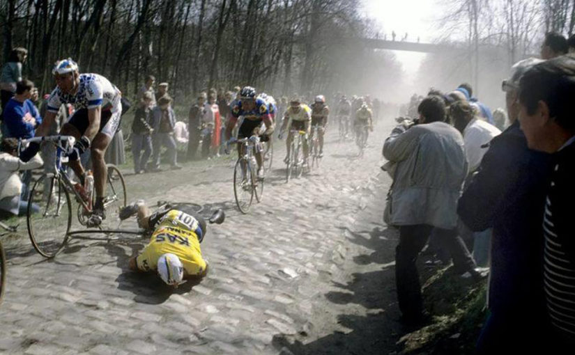 Alfred Achermann crashes on Paris-Roubaix cobbles
