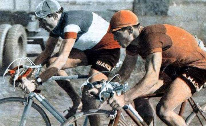 Fausto Coppi riding with Maurice Diot, Paris-Roubaix 1950 (featured)