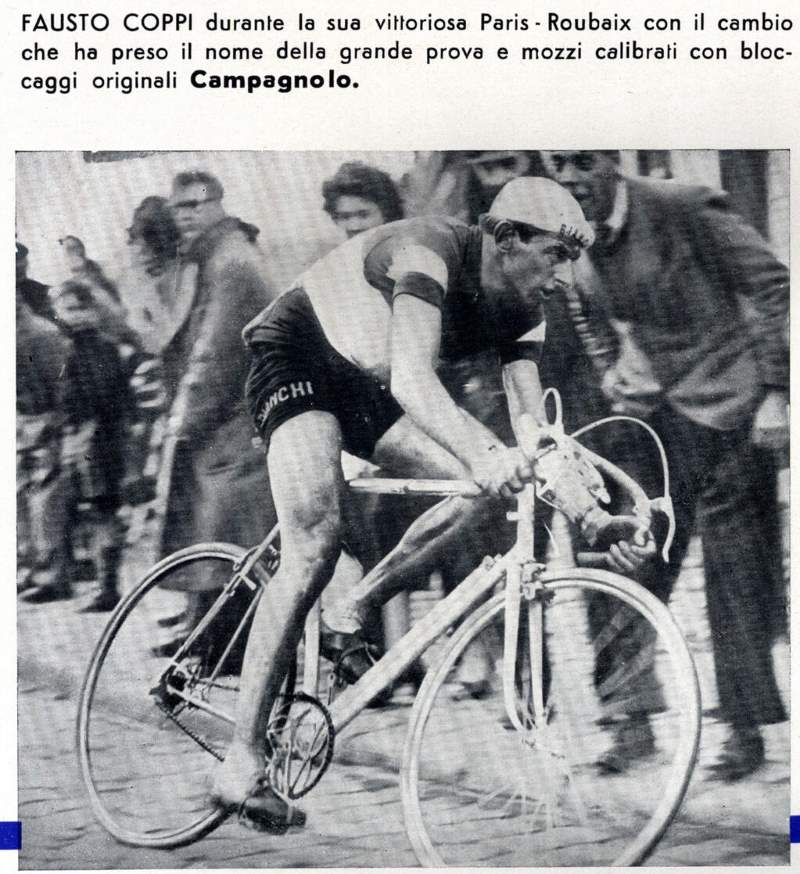 Fausto Coppi on his way to winning the 1950 Paris-Roubaix