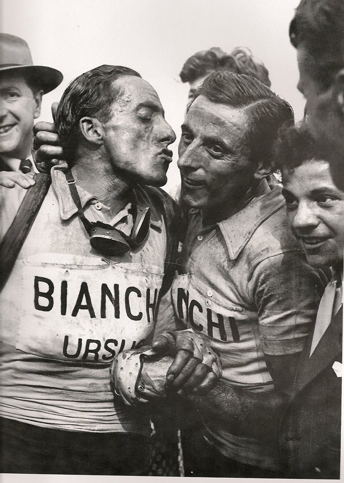 Serse Coppi kisses Fausto Coppi after Paris Roubaix 1949 edition