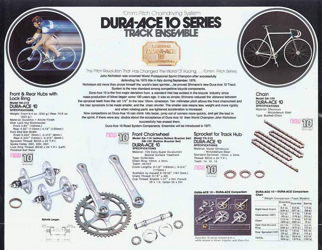 Dura-Ace 10 Series catalogue
