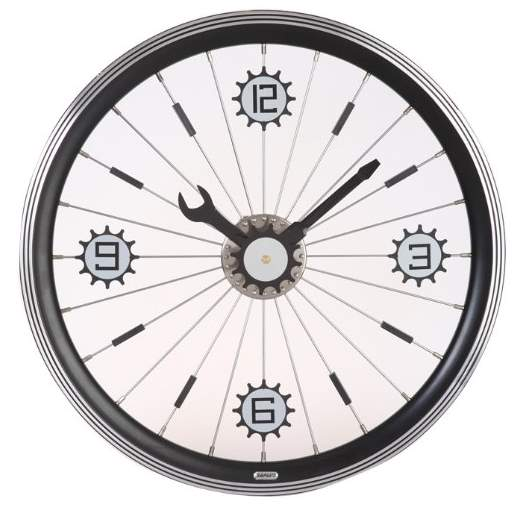 Cycling-related gift ideas: Maple's 16-Inch Aluminum Bicycle Wheel Wall Clock, Black