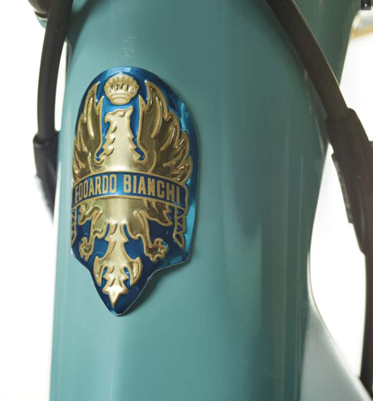 Bianchi Specialissima 2018 Pantani Edition - the famous Bianchi eagle head badge
