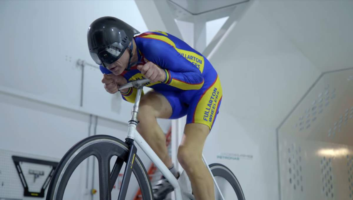 Graeme Obree testing his praying mantis (crouch) position in the wind tunnel