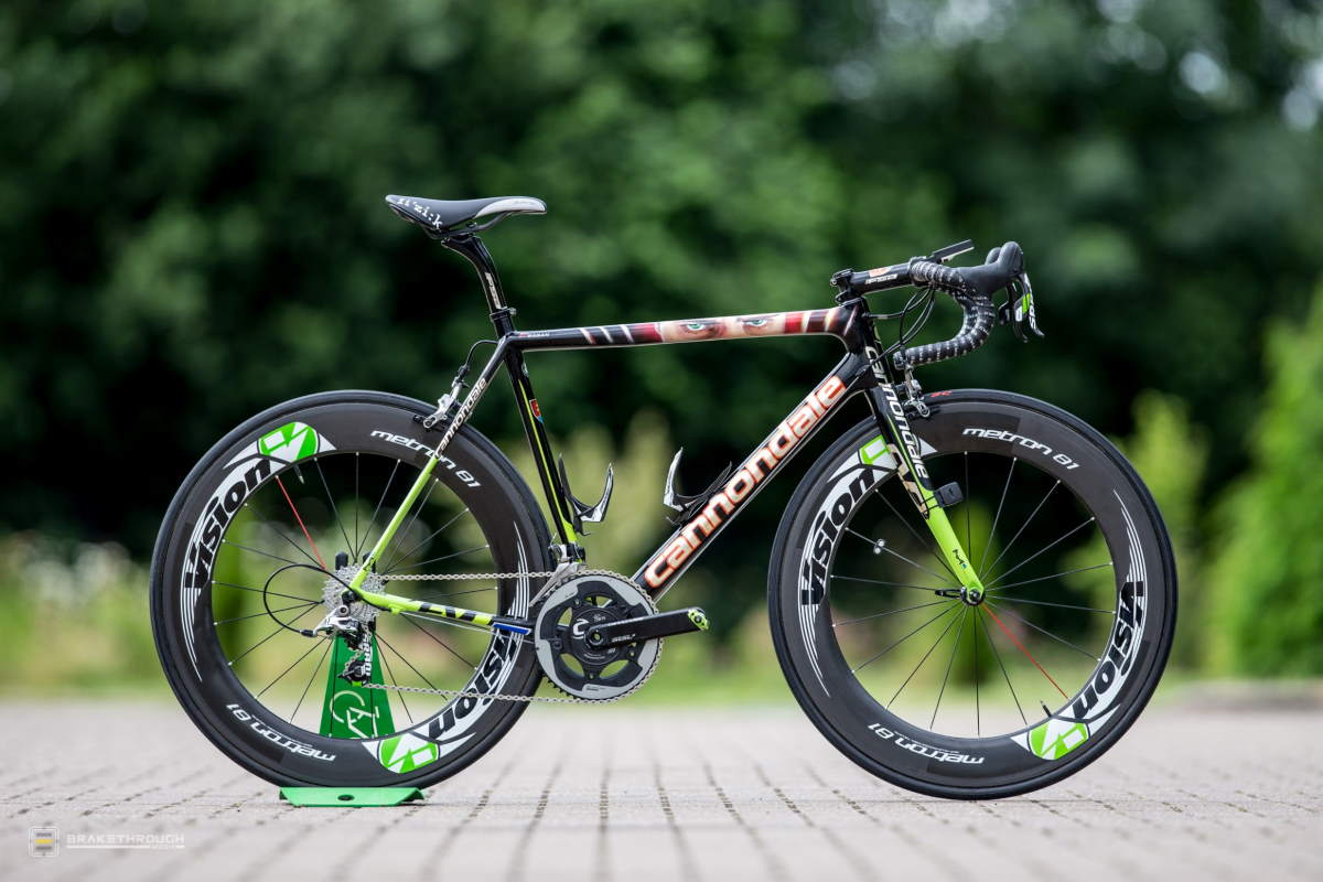 Peter Sagan's custom-painted Cannondale EVO bike for the Tour de France 2014