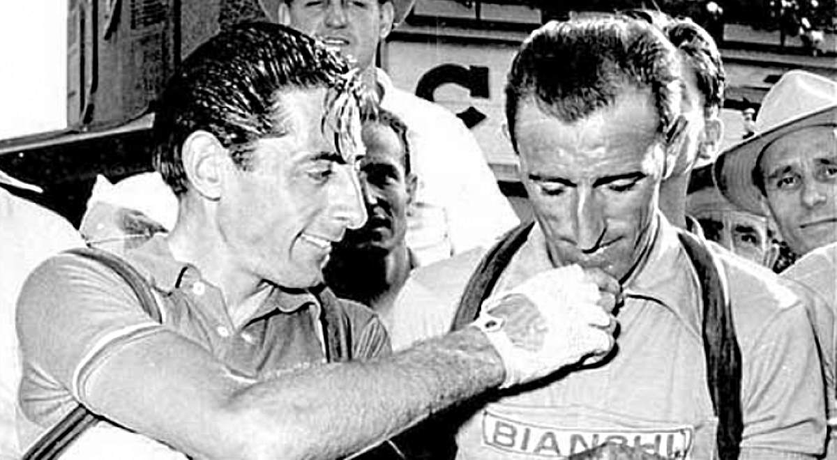 Andrea Carrea with Fausto Coppi