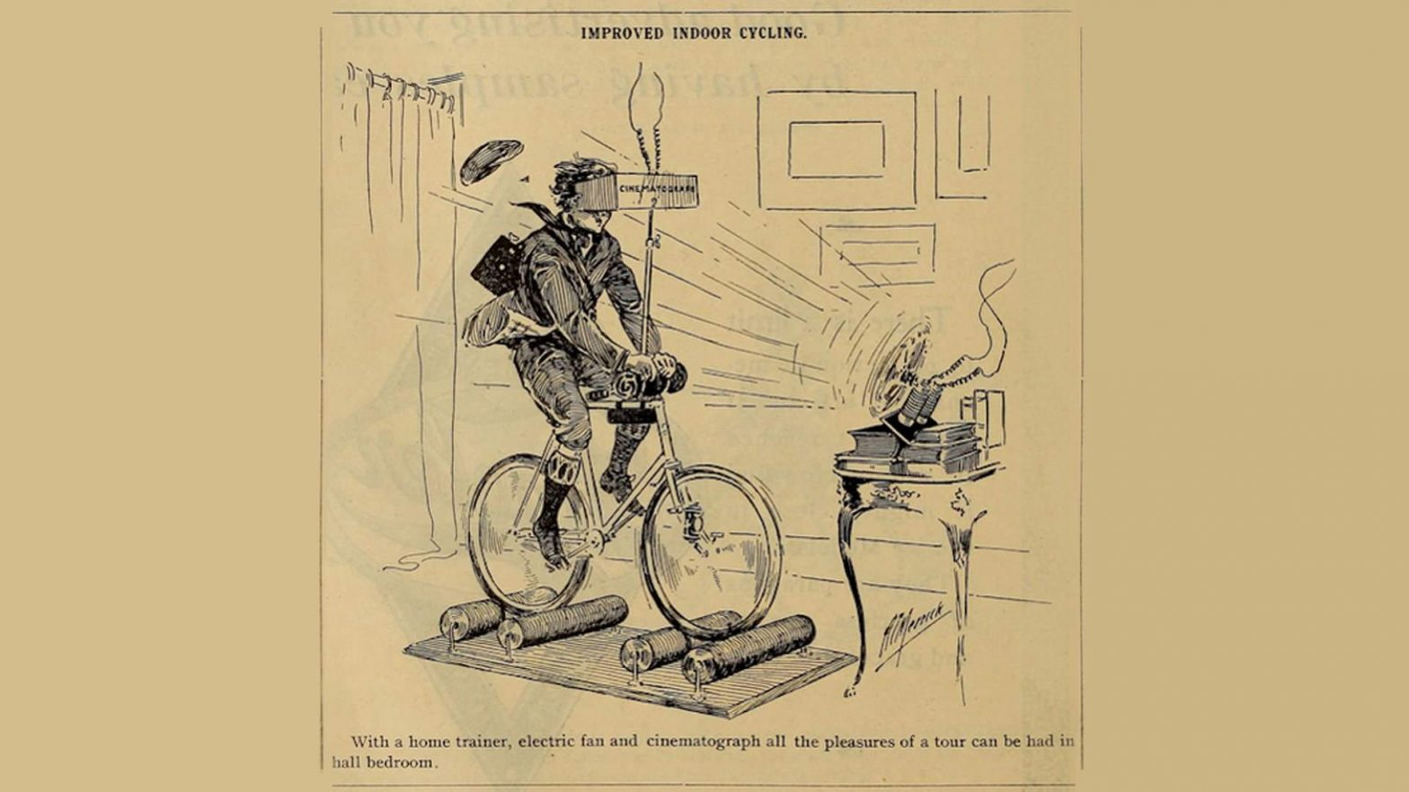 Virtual indoor cycling training idea from 1888