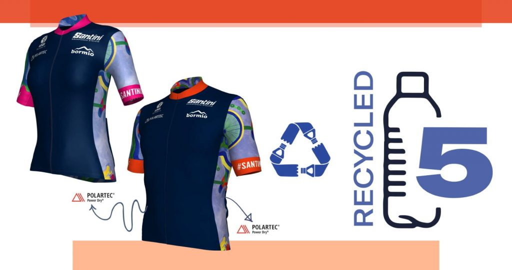 2021 Granfondo Stelvio Santini Eco-Friendly Official Jersey and recycled bottles