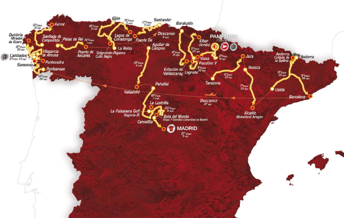 Vuelta a España 2012 route (featured)