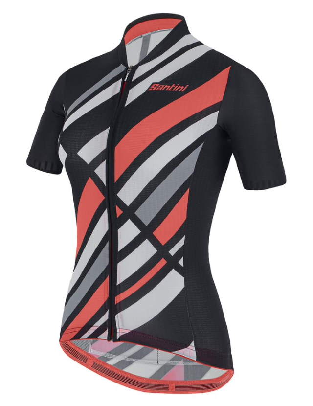 New Eco-Friendly Jerseys from Santini's 2021 Cycling Collection: SANTINI SS21 Raggio jersey, women, black, front