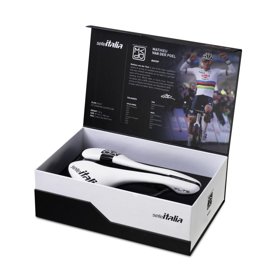 Selle Italia Flite Boost Carbonio Mathieu van der Poel signed collection 2021 (box, open)
