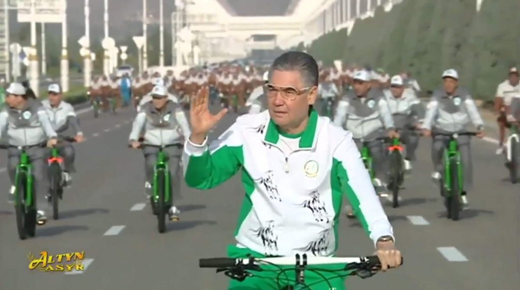 Turkmenistan president went for a bicycle ride