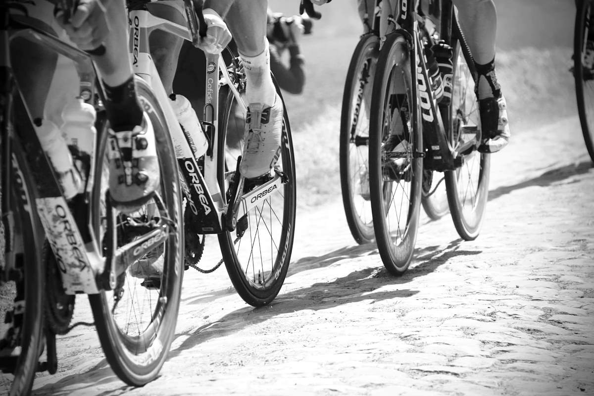 Bicycles on cobbles